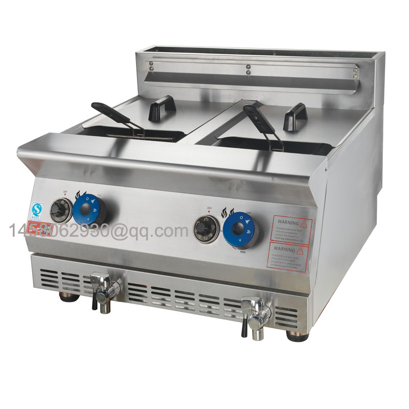Gas Fryer With Griddle Gas ~ Stainless steel two tanks lpg fryer basket gas deep