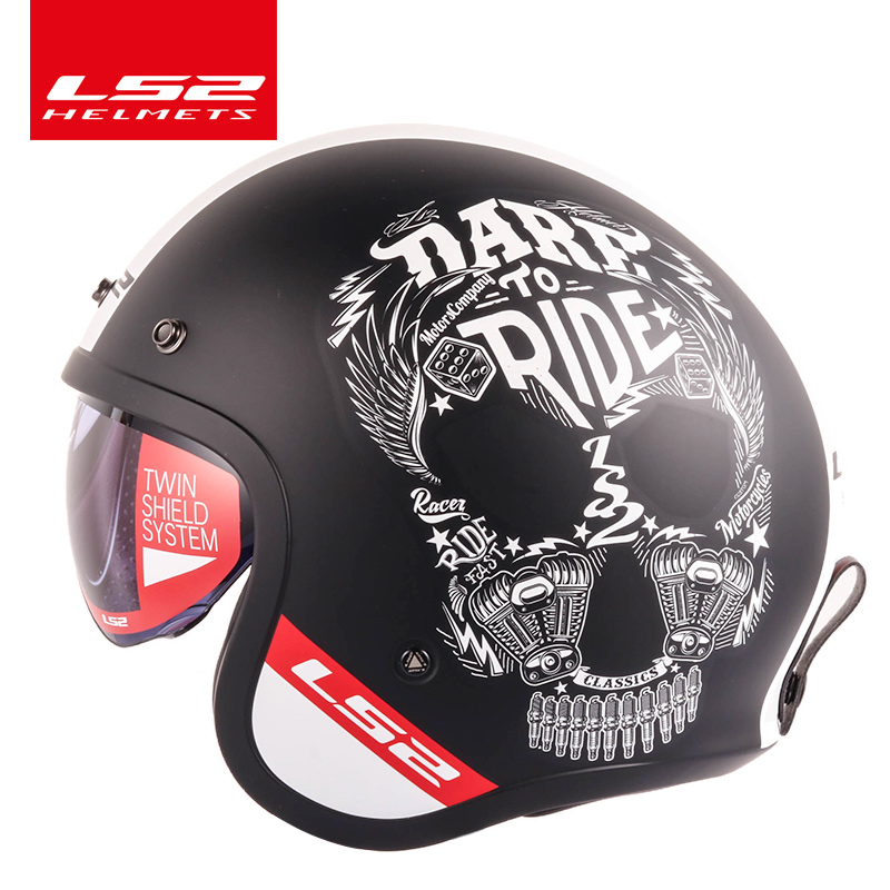 LS2 Spitfire moto rcycle Vintage casque visage ouvert design de mode rétro jet demi-casque LS2 OF599 casque moto avec boucles à bulles