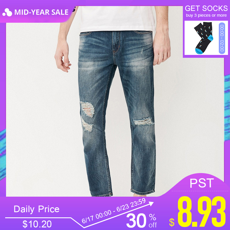 8357cb95c9 Jack & Jones Brand men jeans fasion holes cotton and linen slim long male  jeans mens ripped jeans  217232518