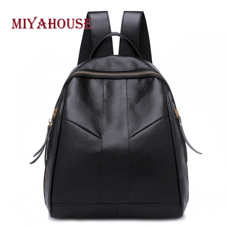 Miyahouse Simple Solid Black Color Woman Rucksadck High Quality Pu Leather Lady Backpack Casual Minimalist Female Travel Bag