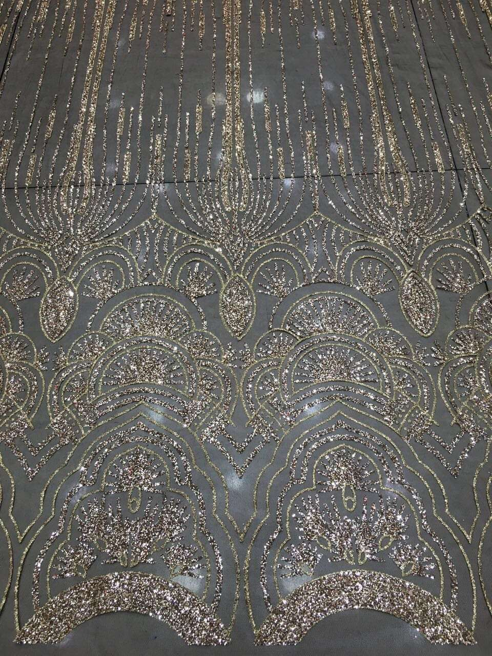 French Net Lace Fabric With Hand Print Silver Gold Glitter