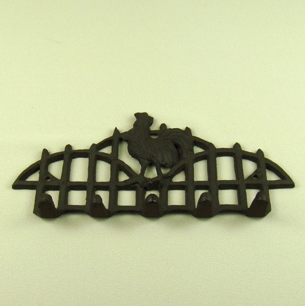 American Style Cast Iron Poultry House Key Hook Ornamental Rooster ...