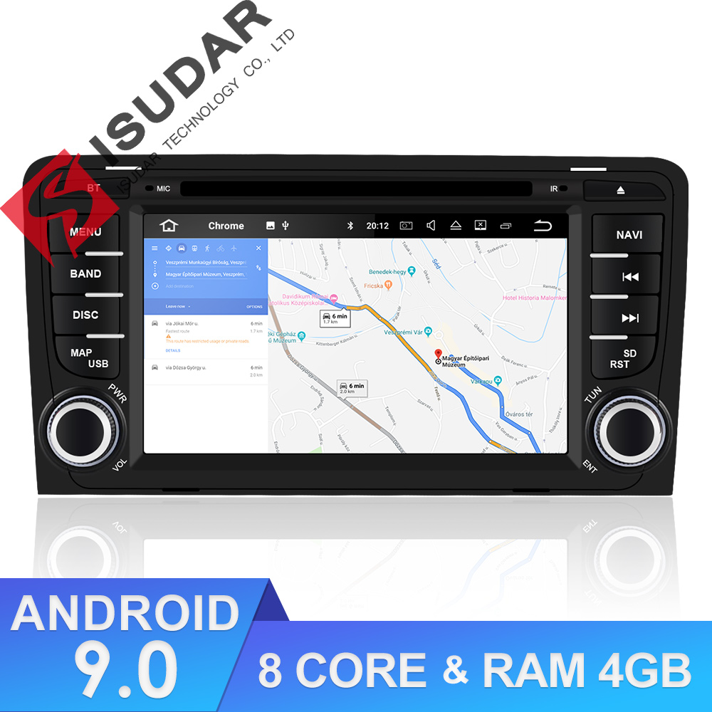 Isudar 9 2 din Rádio Auto Android Para A3/S3/Audi 2002-2013 GPS Octa Núcleo CARNEIRO 4G ROM 64G Car Multimedia Player DSP Da Câmera USB DVR