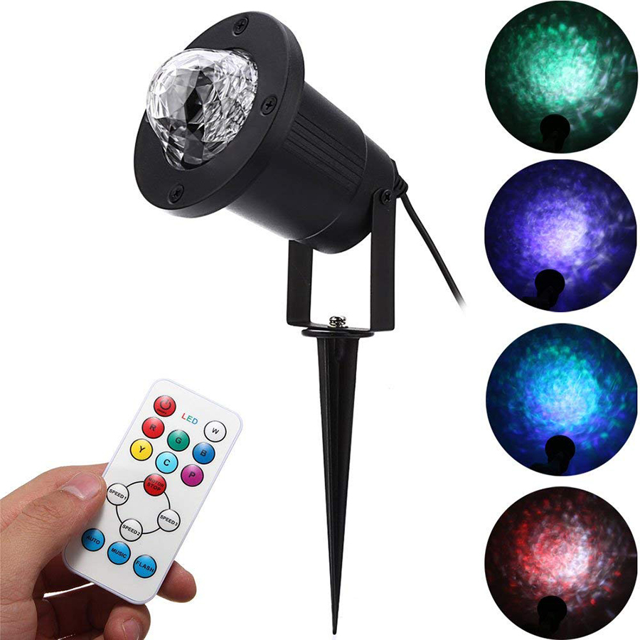 Outdoor Waterproof 7 Colors RGBW LED Water Wave Ripple Projector Stage Light Auto Flash Laser Projector Lamp Disco Party LightsOutdoor Waterproof 7 Colors RGBW LED Water Wave Ripple Projector Stage Light Auto Flash Laser Projector Lamp Disco Party Lights