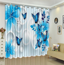 3D Curtain Blue Flowers Attract Butterflies To Dance Living Room Bedroom Beautiful Practical Blackout Curtains