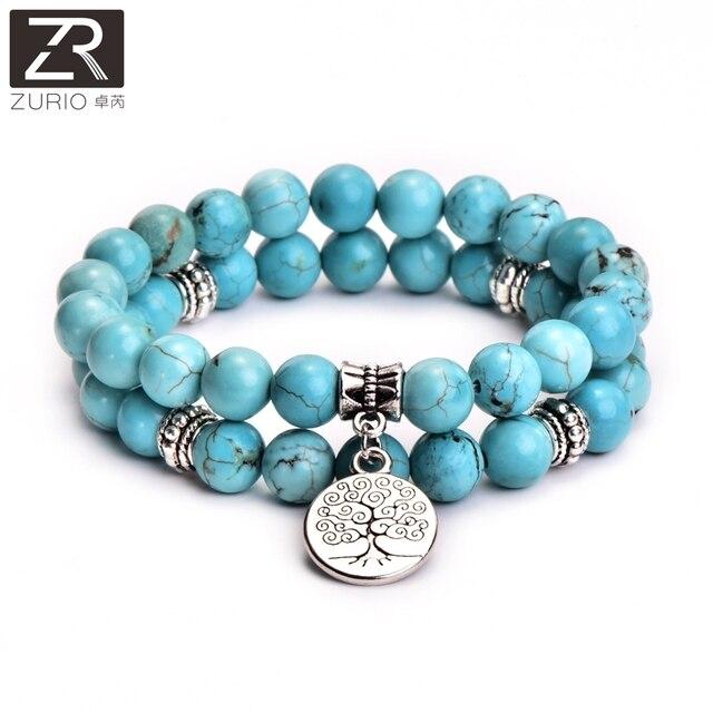 2pcs Set Tree Of Life Jewelry Yoga Mala Bracelet Stone Healing Protection Elastic Beaded Stacking