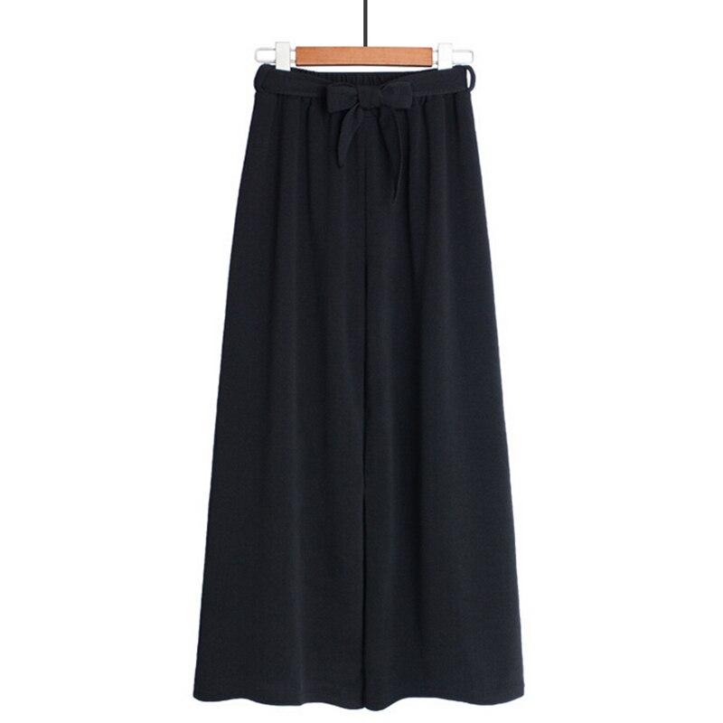 2018 Wide Leg Pants Women Summer Trousers Solid Elegant OL Style Black Elastic Waist Casual Loose Pants Female Belt Streetwear