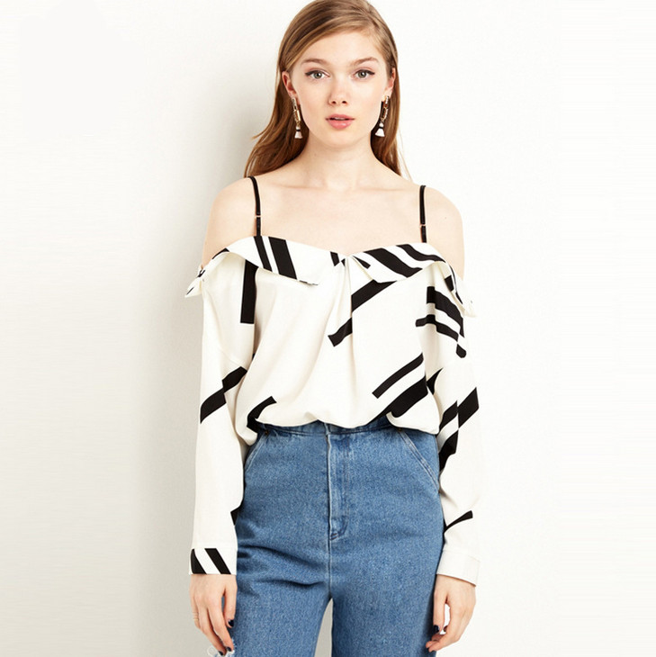 ef0e8d1139fcd Online Shop Vagary Summer Style Sexy Multicolor Long Sleeve Open Shoulder  Black White Spaghetti Strap Blouses Cute New Ladies Shirts Blouse