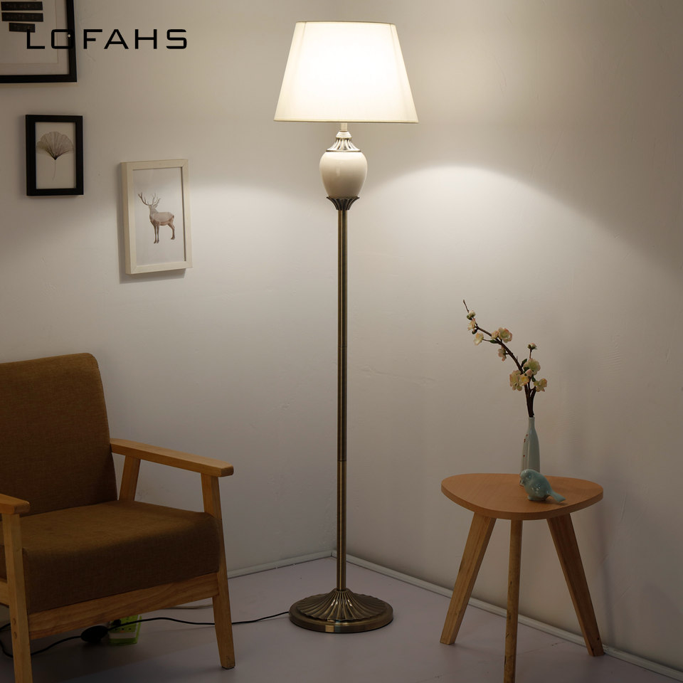 US $193.65 17% OFF|Standing living room Floor Lamp Stand Light Living Room  Bedside Piano Reading Modern Deco bedroom porcelain Lamp YX9016 L-in Floor  ...