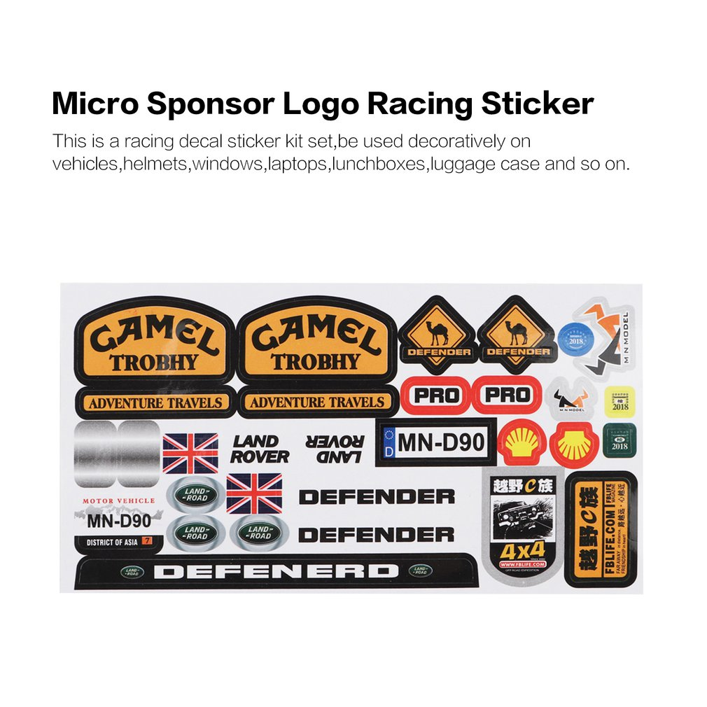 Micro Sponsor Logo Racing Sticker Sheet Universal For WPL & MN RC Car Crawler Sticker Parts RC Car Model Toy Parts Durability