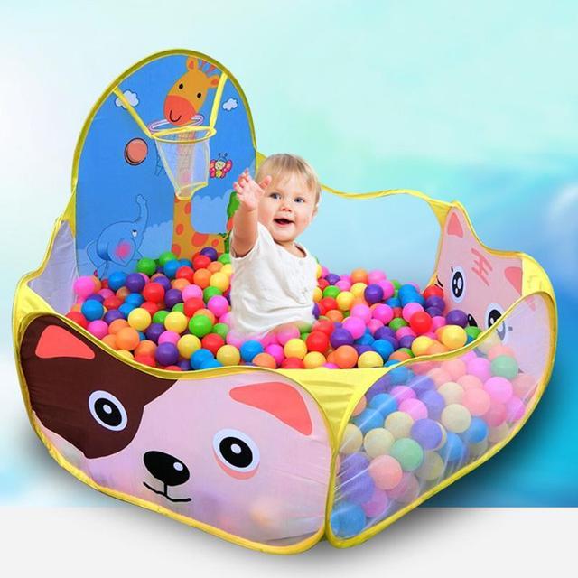Basen z piłeczkami z koszem zabawka dla dzieci piłka oceaniczna Pit Baby kojec namiot zabawki na zewnątrz dla dzieci Ballenbak