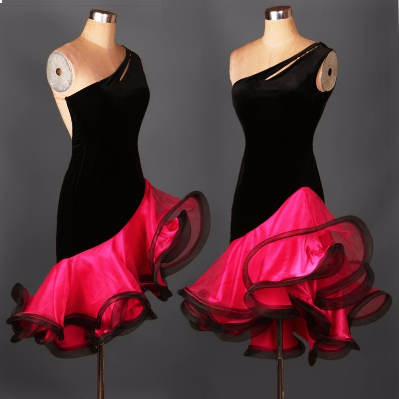 2017 New Women/Kids Latin Dance Dress Adult/Children Custom Size Organza Sleeveless Stage Performance Competition Salsa Dress