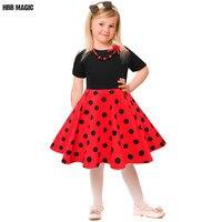 Summer Princess Girl Dress Cotton Short Sleeve Audrey 1950s Vintage Polk Dot Dress Girls Elegant Swing