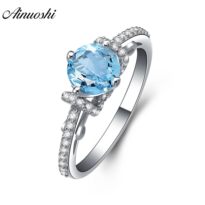 AINUOSHI Natural Blue Topaz Ring Engagement Wedding Party Ring 1ct Gemstone Round Cut Genuine 925 Sterling Silver Women JewelryAINUOSHI Natural Blue Topaz Ring Engagement Wedding Party Ring 1ct Gemstone Round Cut Genuine 925 Sterling Silver Women Jewelry