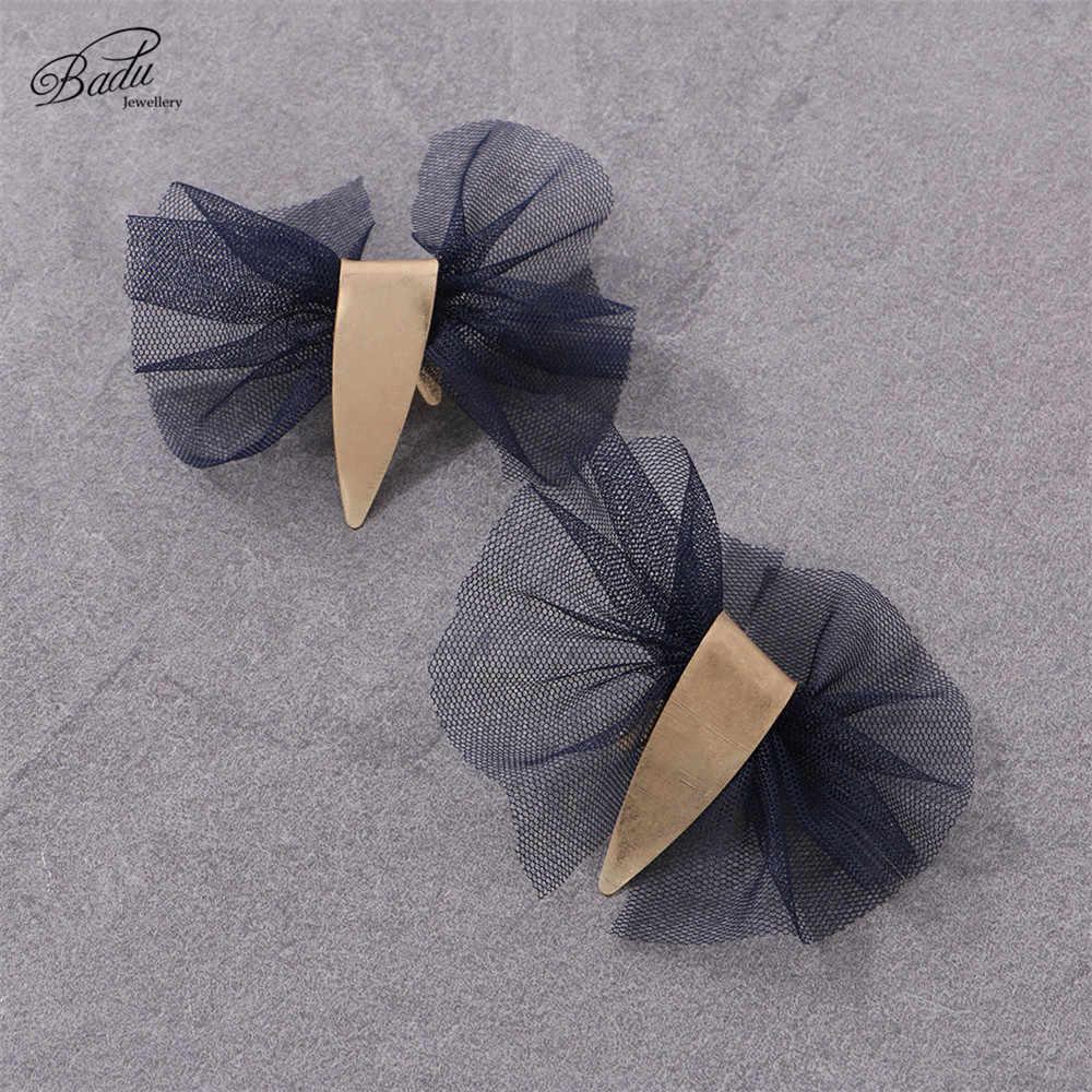 Badu Abend Party Ohrring Spitze Garn Handgemachte Stud Ohrringe für Frauen Gebürstet Goldene Legierung Halloween Schmuck Dropshipping