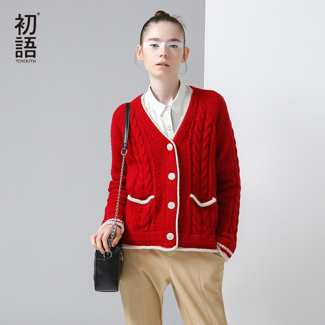 Toyouth Autumn Winter New Sweaters Retro Color Contrast Single-Breasted V-Neck Sweaters Casual Knitted Cardigans