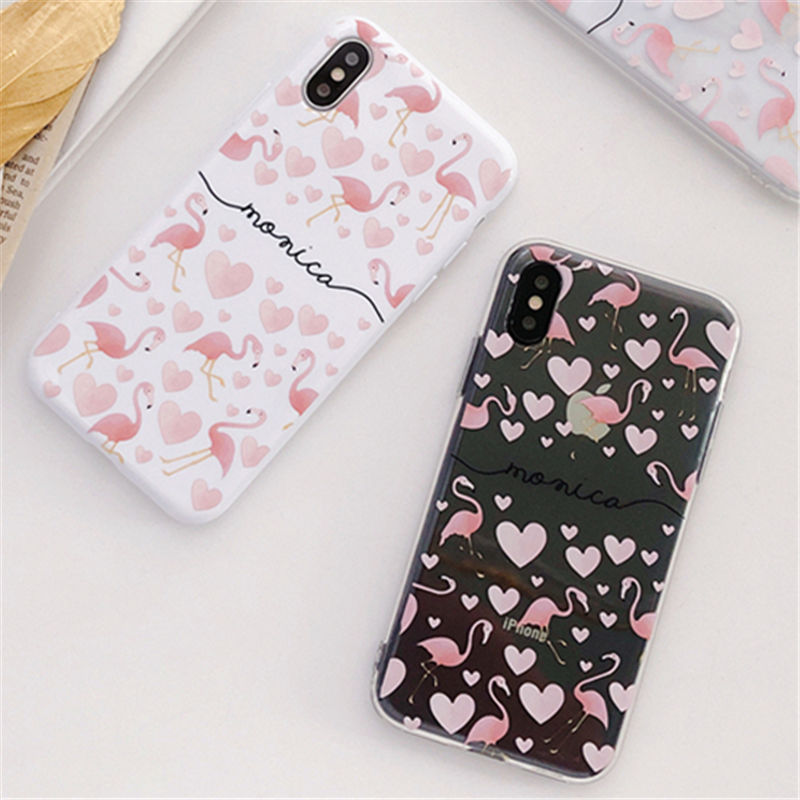 100 pièces Flamant Rose Téléphone étuis pour iPhone X Étui Amour coeur Doux Couverture De Téléphone Portable pour iPhone 7 8 6 6 s XR XS MAX Fundas Capa