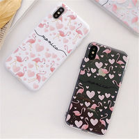 100PCS Pink Flamingo Phone Cases for iPhone X Case Love heart Soft Mobile Phone Cover for iPhone 7 8 6 6s XR XS MAX Fundas Capa