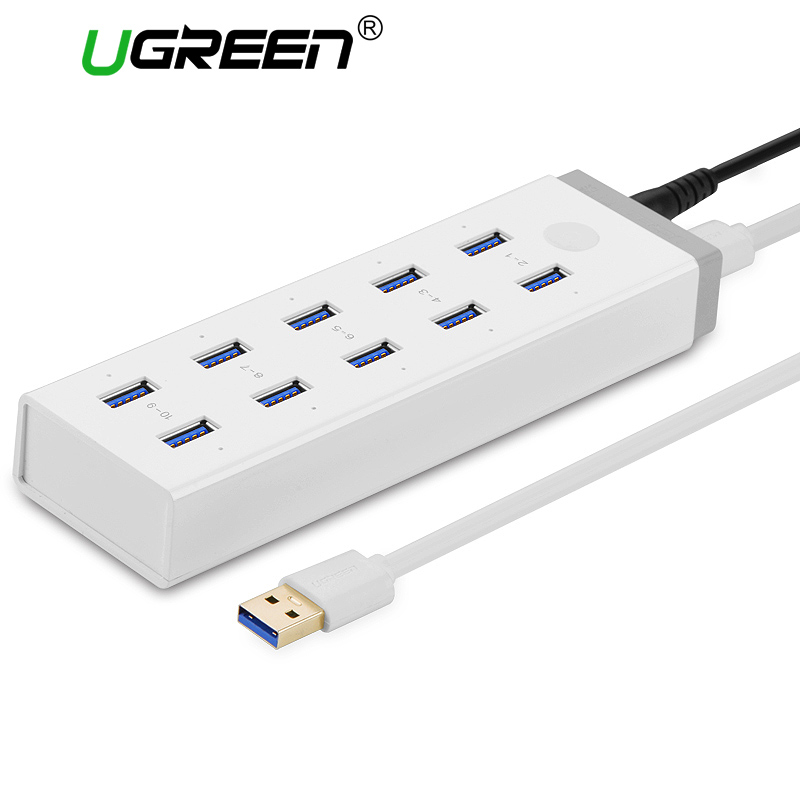 Ugreen 10 Ports USB 3.0 HUB High Speed USB Splitter with 12V 4A Power Charging Adapter for Computer Laptop Hubs Usb 10 Ports orico m3h73p aluminum usb hub splitter super speed 5gbps 7 usb3 0 ports 3 usb charging ports for charging