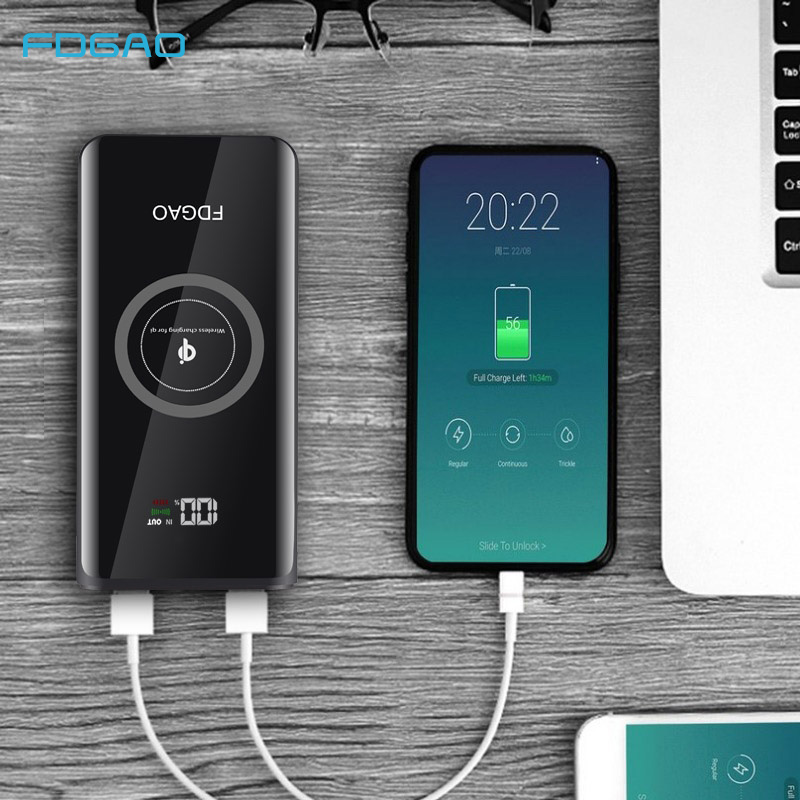 FDGAO Qi Wireless Charger 20000mAh Power Bank Mobile External Battery USB for iPhone XS Max XR X 8 Samsung S9 S8 Xiaomi Mix 3 2sFDGAO Qi Wireless Charger 20000mAh Power Bank Mobile External Battery USB for iPhone XS Max XR X 8 Samsung S9 S8 Xiaomi Mix 3 2s