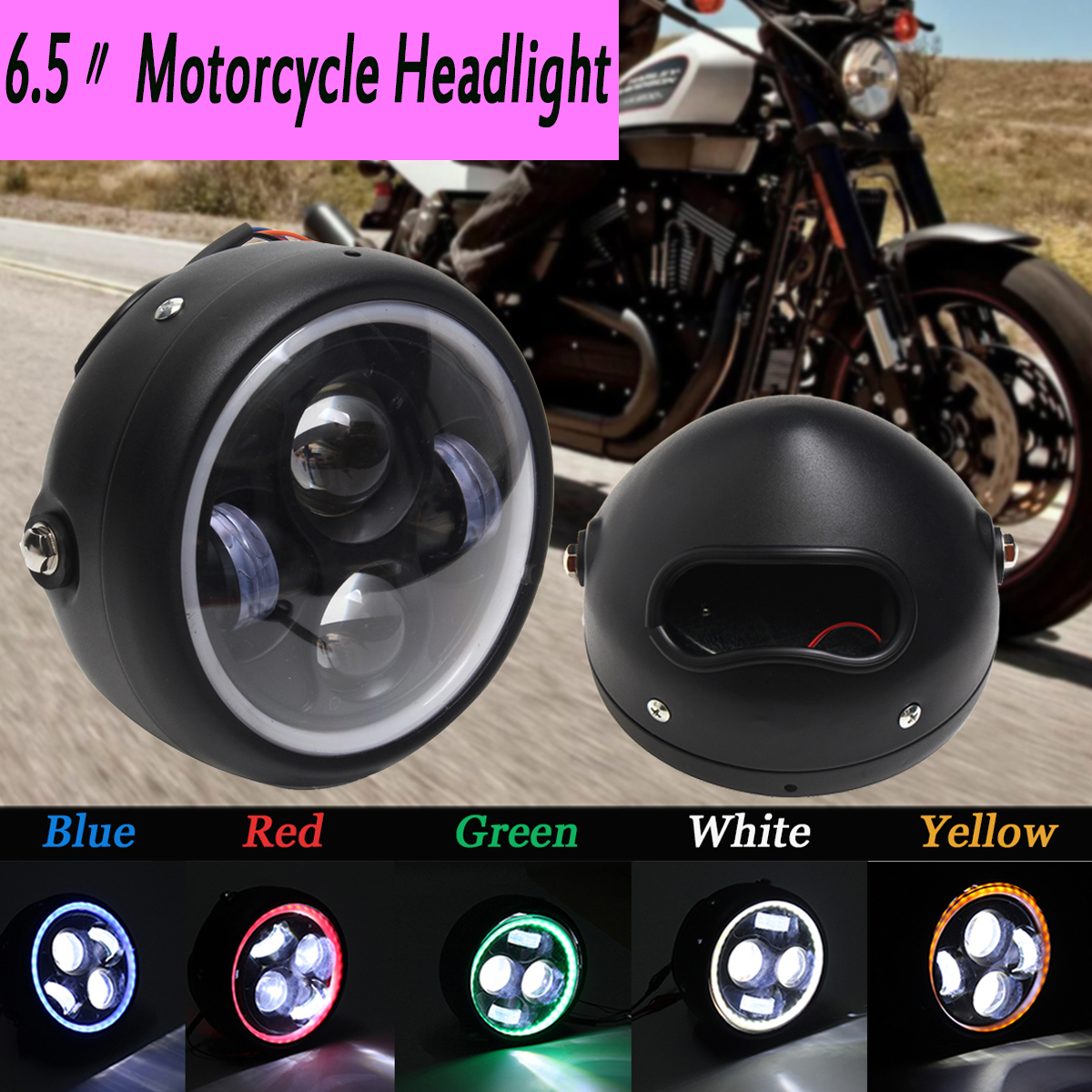 1pcs Motorcycle LED Angel Eye High Low Beam For Harley Headlight Lamp Universal Front Light Cafe Racer Without Brackets