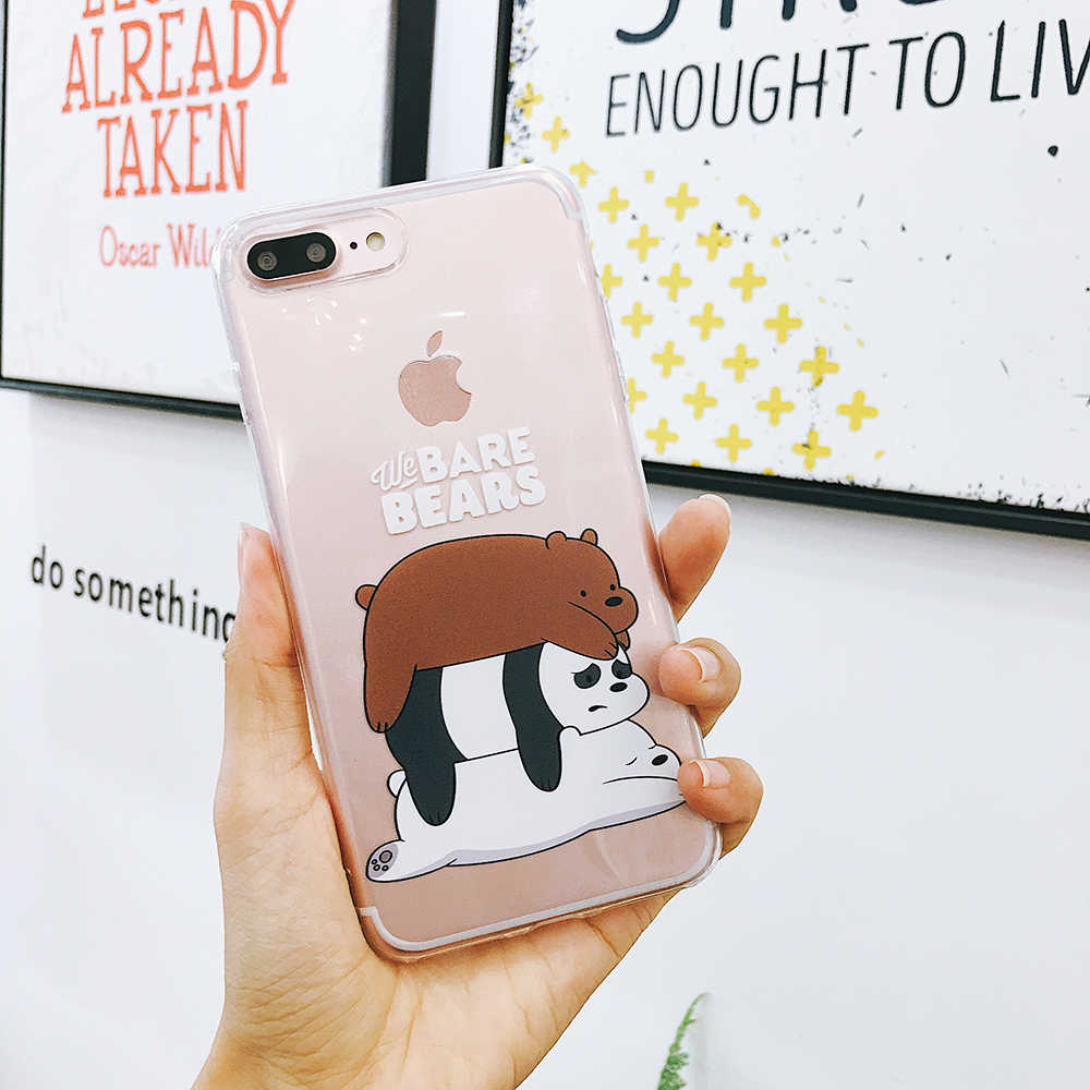 separation shoes 50b16 7ad62 Cute We Bare Bears soft Phone Case For iPhone 7 case Cartoon transparent  bear For iPhone 6 6s 7 8 Plus X XR XS Max Cover Coque