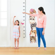 1PCS Cartoon Cute Cats Measure Height Wall Stickers Kids Adhesive Vinyl Mural For Baby Room Nursery Home Decor 45*60CM
