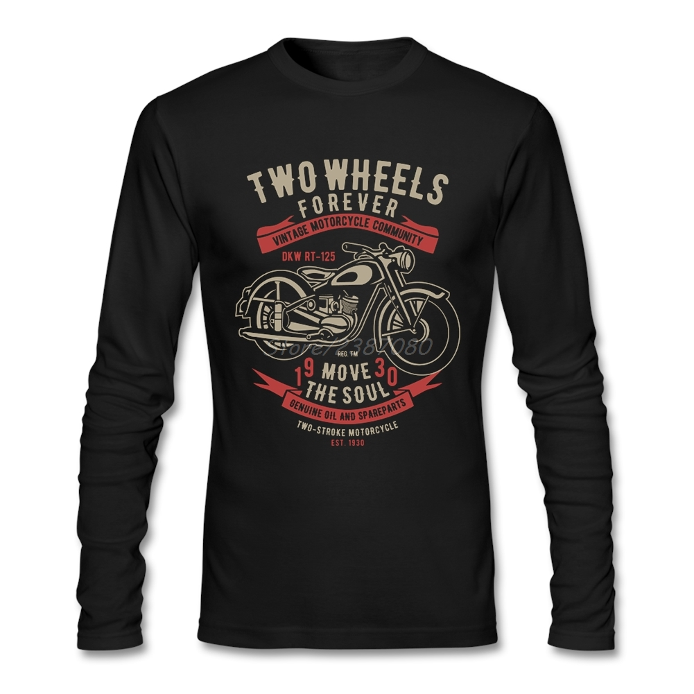 Two Wheels Move The Soul Vintage Motorcycle T Shirt Long Sleeve Men's T-shirt Pop Brand Cotton Funny T Shirts
