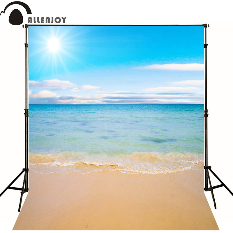 Allenjoy Photographic Background Beach Ocean Sky Sun Newborn Vinyl Backdrops Baby Shower Send Rolled Interesting