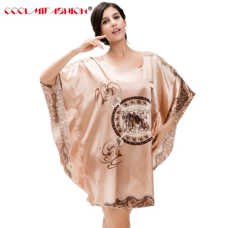 Nightgowns     Sleepshirts   Silk Lady Sleepwear Dressing Gown Female Home Brand Bathrobe Intimissimi camisola sexy lingerie nightwear