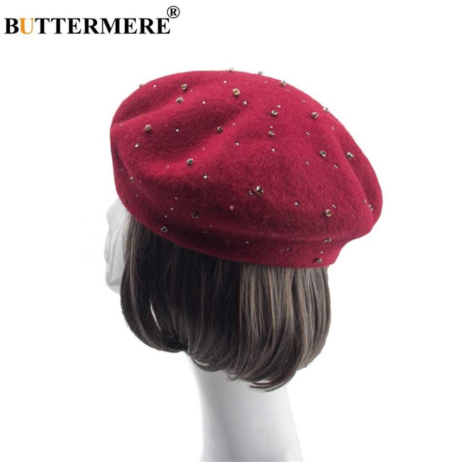 74b15c761371a BUTTERMERE Women Wool Knit Beret Caps Rhinestone Red Vintage French Artist  Hat Elegant Ladies Warm Winter