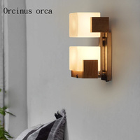 American retro double head oak wall lamp dining hall bedroom bedside lamp creative personality sugar cube wall lamp