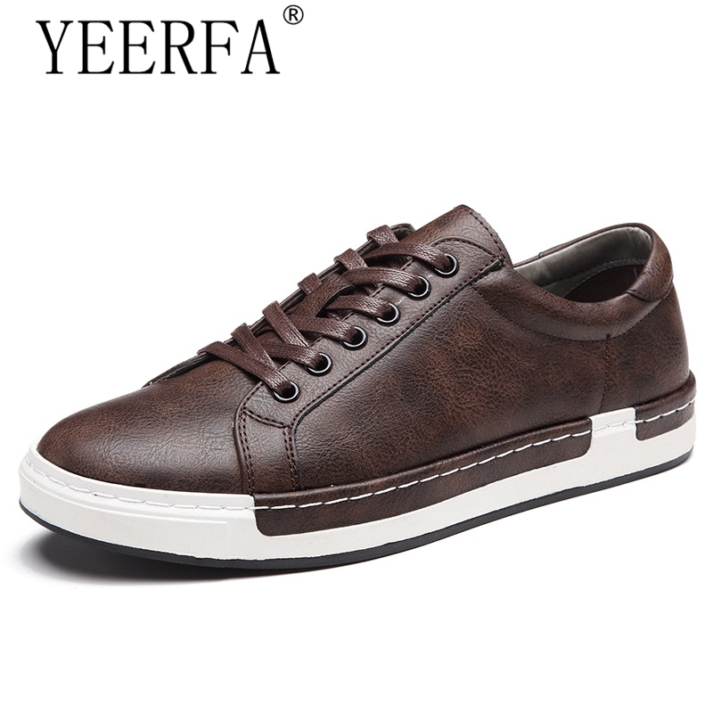 Autumn New Casual Shoes Mens Leather Flats Lace-Up Shoes Simple Stylish Male Shoes Large Sizes Oxford Shoes For Men hot sale mens italian style flat shoes genuine leather handmade men casual flats top quality oxford shoes men leather shoes