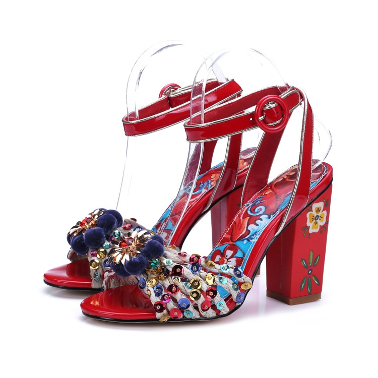 woman shoes peep toe sandals High heels big size 2017 summer womens fashion flowers crystal thick heels ankle strap shoes women plus size 2017 new summer suede women shoes pointed toe high heels sandals woman work shoes fashion flowers womens heels pumps