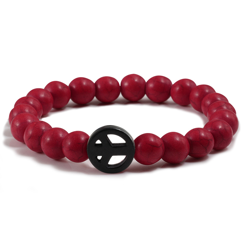 Men Jewelry Turquoises Friendship Circle Buddha Bracelets Women Matte Natural Black Lava Stone Charm Bracelet Men Femme Pulseras