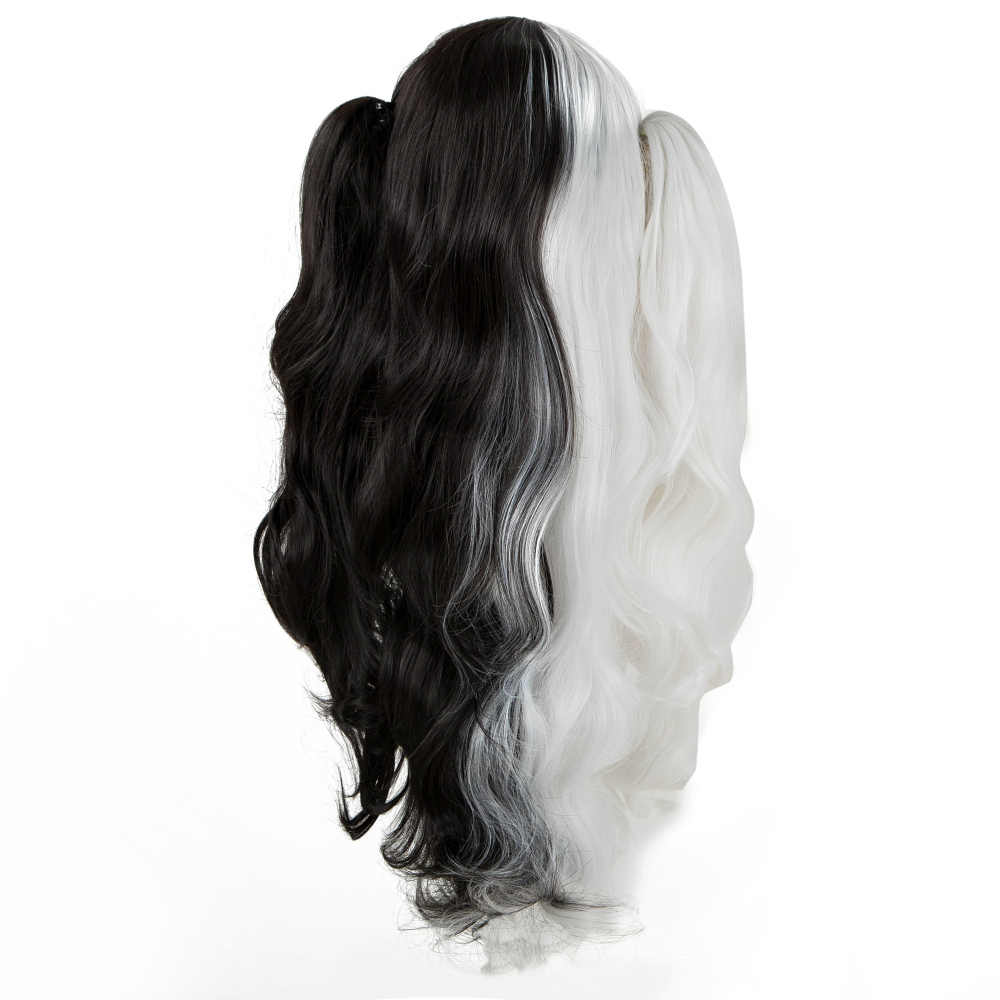 Fei-Show Synthetic Heat Resistant Long Curly Hair With Two Ponytails Cos-play Costume Salon Party Half Black and White Hairpiece