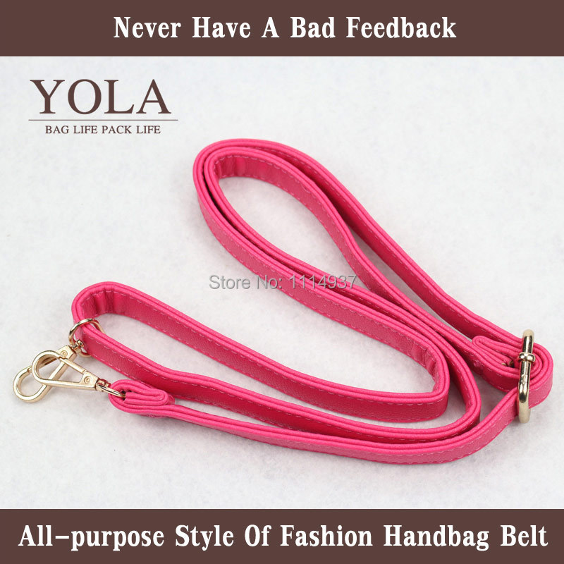 hot pink Free shipping PU leather belt male and female bag shoulder straps, color2.0cm ...