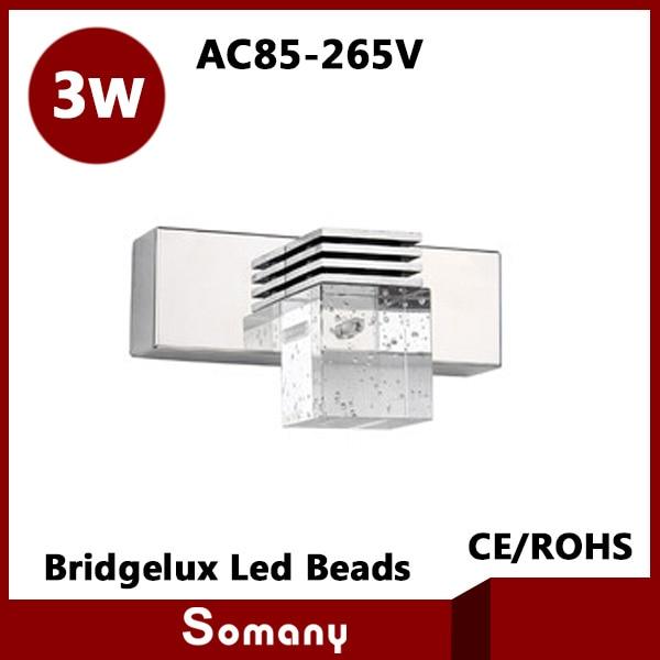 ФОТО 2pcs/lot 2014 Modern Entrance Aisle Lamp Stair Light 140mm*75mm BridgeLux 1 Head Crystal Square Led Mirror Light Stainless Steel