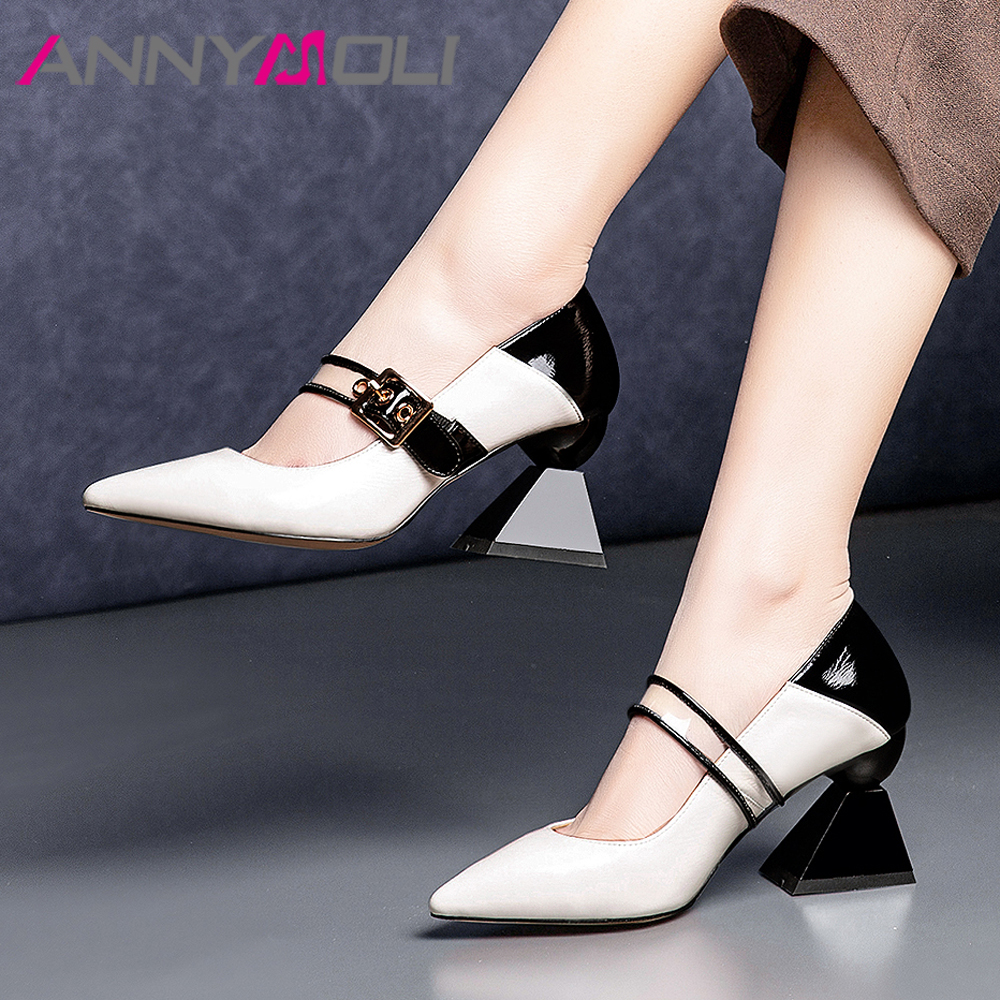 ANNYMOLI Women Mary Janes Shoes High Heels Natural Genuine Leather Strange Style High Heel Shoes Buckle Mixed Colors Pumps Lady