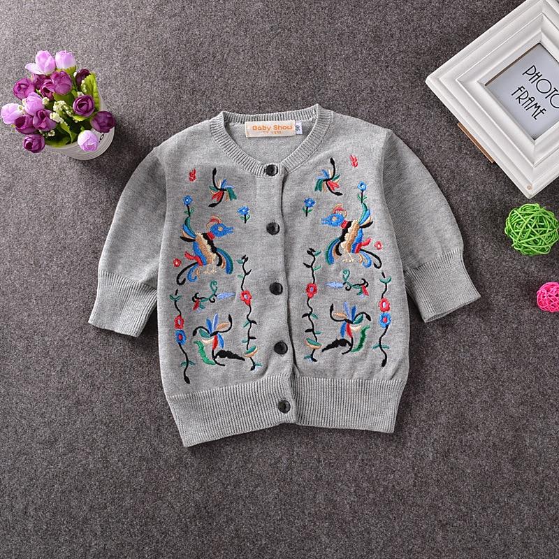 fashion new Europe Children\'s bird pattern sweater girl embroidery ...