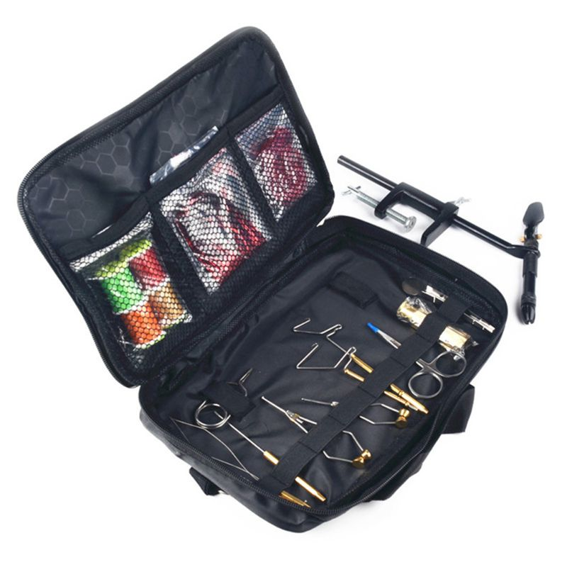 Fly Fishing Tying Tools Kit In Skin Imitated Bag Including Vise Bobbin Holder Whip Finisher Half Hitch Tool