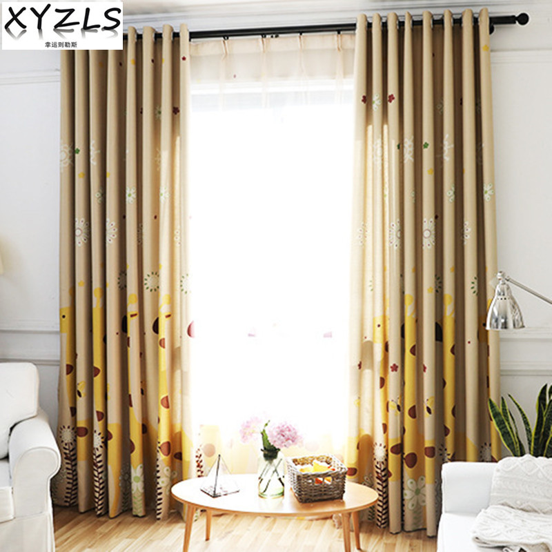 XYZLS New Cartoon Giraffe Blinds Shade Cortinas Blackout Curtains Sheer Tulle Curtain for Living Bedroom Balcony for Kids