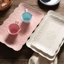 Китайская керамическая квадратная тарелка, тарелка для завтрака, десерта, тарелка с бабочкой, тарелка для послеобеденного чая, фруктовый поднос, Свадебный Европейский рельефный домашний