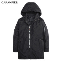 CARANFIER Men Winter Casual Parka Liner Detachable Zippers Thick Jacket Warm Windproof Male Slim Soft Two Way Outerwear M~3XL