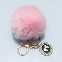 8CM Faux Fur PomPom DIY KeyChain Rabbit Fur Bag Pom Pom Ball Gold Buckle Circular Bow with Pearl Pendant Sleutelhanger Pom Poms(China)