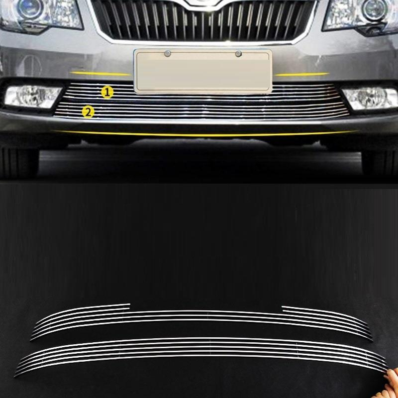Grille automobile modified car styling bright sequins modification decoration accessory accessories 13 14 15 FOR Skoda Superb automobile car styling accessories chromium 2014 17 modified bumper grille trim strip grid decorative bright for toyota vios