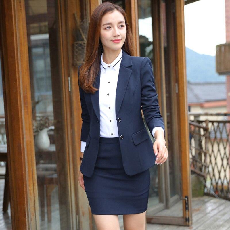 f8d9b8f8d4d Business Suits Elegant Office Uniform Skirt Suit Autumn Full Sleeve Blazer  Jacket+Skirt 2 Pieces