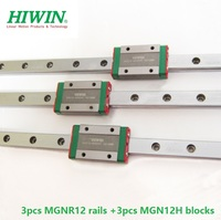 3pcs Original HIWIN linear guide rail MGN12 L 300mm/350mm/400mm/500mm/600mm/620mm/700mm + 3pcs MGN12H blocks CNC parts MGNR12