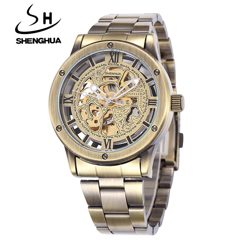Prix pour Top Marque De Luxe Shenhua Montres Mécaniques Hommes De Mode Rétro Bronze Squelette Automatique Montre Mécanique Montre-Bracelet Reloj Hombre