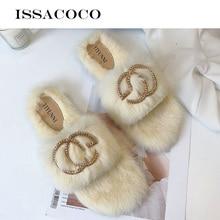 ISSACOCO Women Winter Non-slip Flat Warm Cotton Fur Slippers Women Non-slip Flat Slides Slippers Women Furry Slippers Wholesale